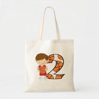 2nd Birthday Red and White Basketball Player Budget Tote Bag