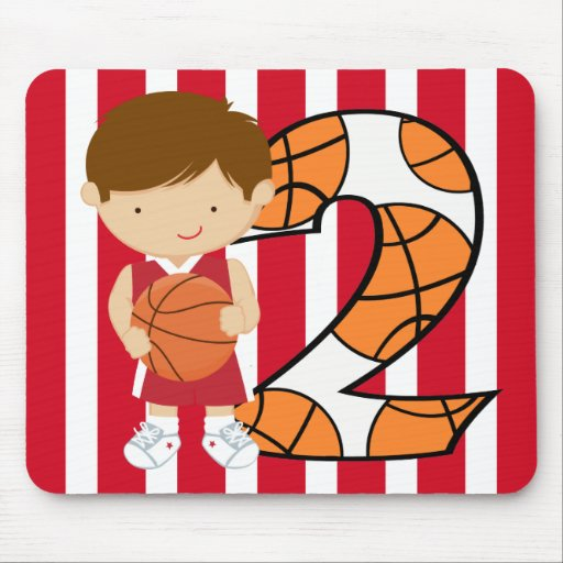 2nd Birthday Red and White Basketball Player Mousepads