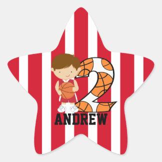 2nd Birthday Red and White Basketball Player Star Sticker
