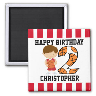 2nd Birthday Red and White Basketball Player v2 Square Magnet
