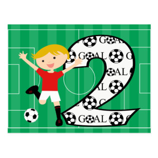 2nd Birthday Red and White Soccer Goal Postcard