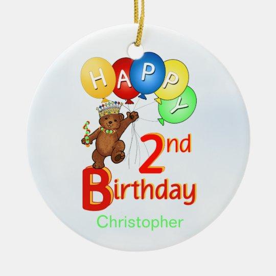2nd Birthday Royal Bear Christmas Ornament