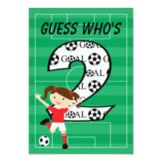 2nd Birthday Soccer Girl Red and White 13 Cm X 18 Cm Invitation Card