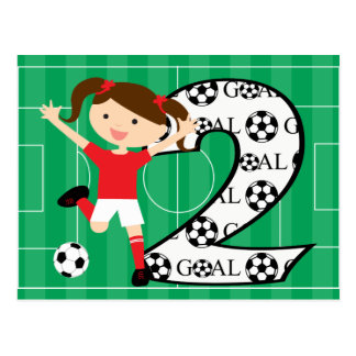 2nd Birthday Soccer Girl Red and White Postcard