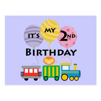 2nd Birthday Train Birthday Post Cards