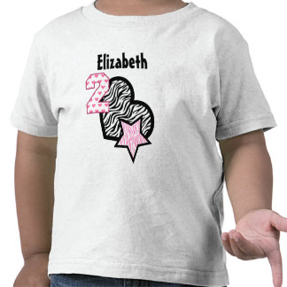 2nd Birthday Zebra Hearts Two Year Old 8 T Shirt