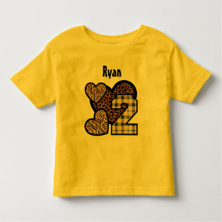 2nd Birthday Zebra Leopard  Hearts Two Year Old 12 T-shirt