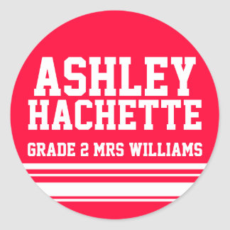 2nd Grade school education name id sticker red