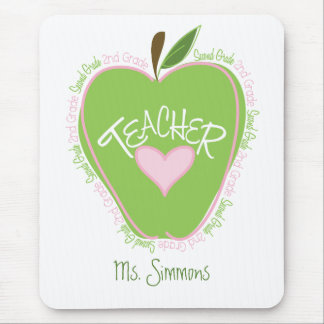 2nd Grade Teacher Pink & Green Apple Mouse Pad