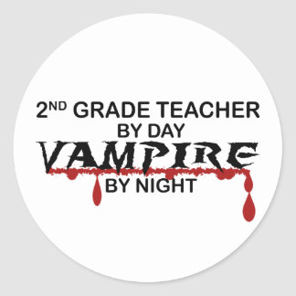 2nd Grade Vampire by Night Classic Round Sticker