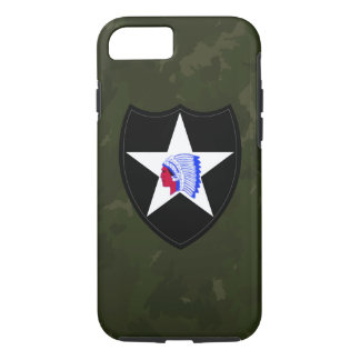 """2nd Infantry Division """"Second to None"""" Army Green iPhone 8/7 Case"""