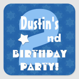 2nd Kids Birthday Party Custom Name V2 Square Stickers