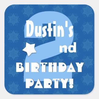 2nd Kids Birthday Party Custom Name V2 Square Sticker