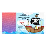 2nd pirate birthday boy party invitations customised photo card