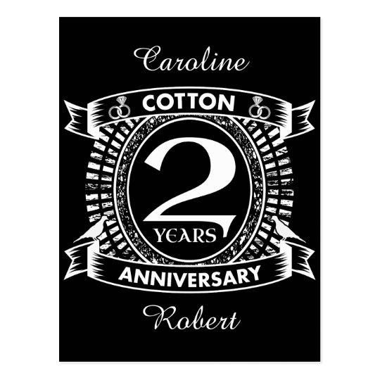 2nd wedding anniversary distressed crest postcard