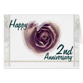2nd Wedding Anniversary - Purple Rose Heart Card
