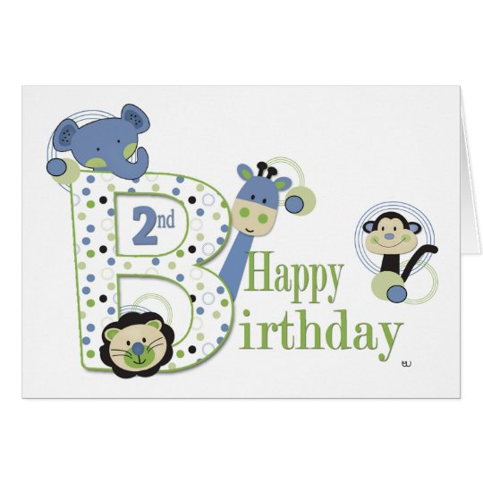 2st Birthday Boy Animal Card with Dots