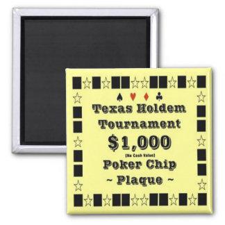 2x2 Texas Holdem Poker Chip Plaque - 1000 Magnet