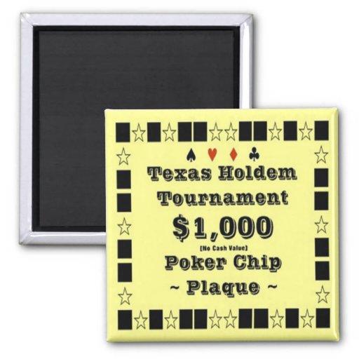 2x2 Texas Holdem Poker Chip Plaque - $1000 Magnet