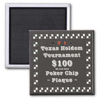 2x2 Texas Holdem Poker Chip Plaque - 100 Fridge Magnet