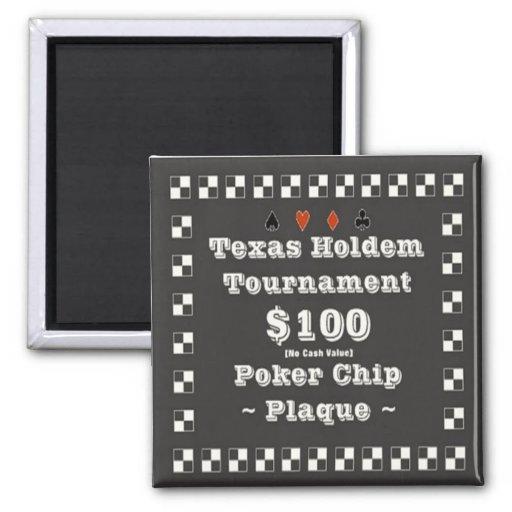 2x2 Texas Holdem Poker Chip Plaque - $100 Fridge Magnet