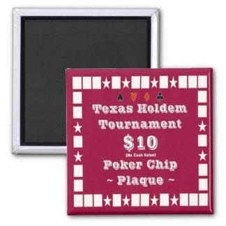2x2 Texas Holdem Poker Chip Plaque - 10 Refrigerator Magnets