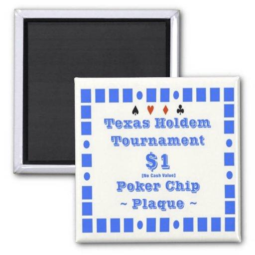 2x2 Texas Holdem Poker Chip Plaque - $1 Fridge Magnets