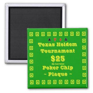 2x2 Texas Holdem Poker Chip Plaque - 25 Fridge Magnets