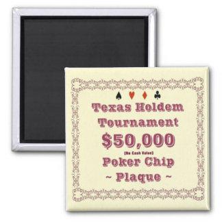 2x2 Texas Holdem Poker Chip Plaque - 50K Fridge Magnet