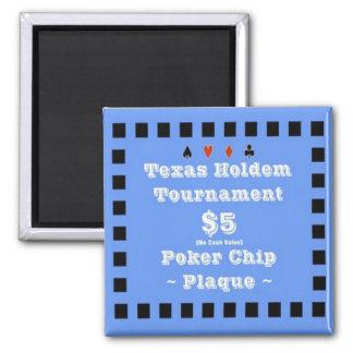 2x2 Texas Holdem Poker Chip Plaque - 5 Refrigerator Magnets