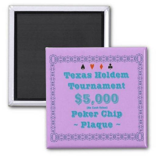 2x2 Texas Holdem Poker Chip Plaque - $5K Refrigerator Magnets