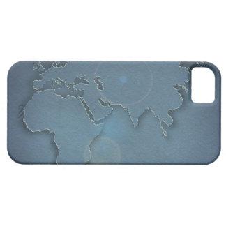 3つの大陸を示す簡単で青い地図- iPhone 5 COVERS