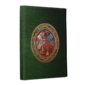 300 Celtic Treasures - Three Dogs on Gold iPad Folio Case