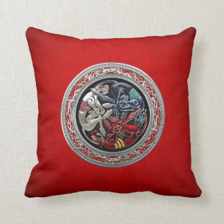 [300] Celtic Treasures - Three Dogs on Silver Throw Pillows