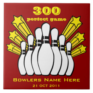 300 Game Bowling Award Decorative Tile