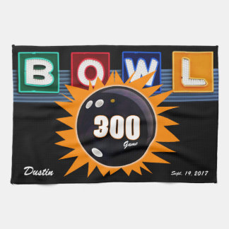 300 Game Orange & Black with Neon BOWL sign Tea Towel