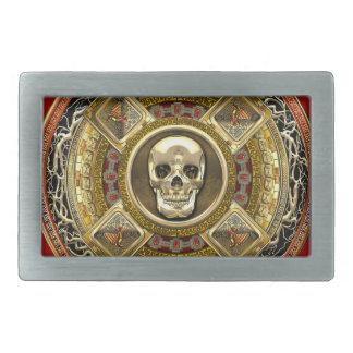 [300] Mictlantecuhtli – Aztec God of Death Rectangular Belt Buckle