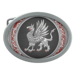 [300] Sacred Silver Griffin Oval Belt Buckle