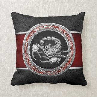 [300] Sacred Silver Scorpion on Black Throw Pillow