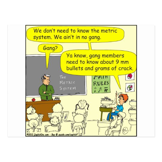 303 metric system math cartoon postcard