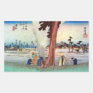 30. 浜松宿, 広重 Hamamatsu-juku, Hiroshige, Ukiyo-e Rectangular Sticker