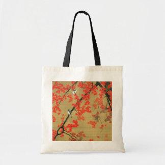30. 紅葉小禽図, 若冲 Maple & Small Birds, Jakuchū