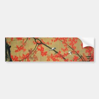 30. 紅葉小禽図, 若冲 Maple & Small Birds, Jakuchū Bumper Sticker