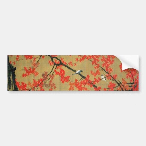 30. 紅葉小禽図, 若冲 Maple & Small Birds, Jakuchū Bumper Stickers