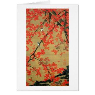 30. 紅葉小禽図, 若冲 Maple & Small Birds, Jakuchū Greeting Card