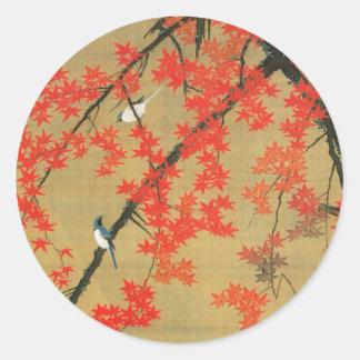 30. 紅葉小禽図, 若冲 Maple & Small Birds, Jakuchū Round Sticker
