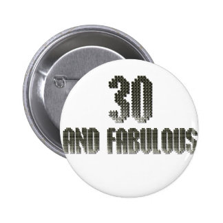30 and fab disco theme 6 cm round badge