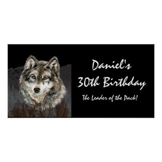 30 Birthday Banner Leader of the Pack Wolf Fun Print