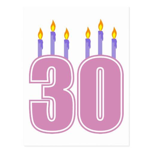 30 Birthday Candles (Pink / Purple) Postcards