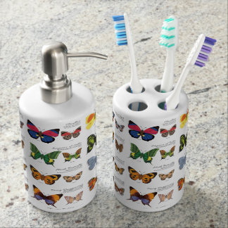 30 Butterfly Species from Around the World (Light) Bathroom Set